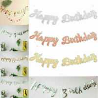 "Gold Letters ""Happy Birthday"" Bunting Garland Home Party Hanging Banner Decor"