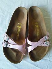 BIRKENSTOCK Women's Pink Double Strap Patent Flip Flop/Sandals/Shoes Size 39