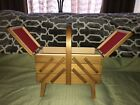 Vtg+Wooden+Accordian+Fold+Out+Sewing+Box+3+Tier+Craft+Organizer+On+Legs
