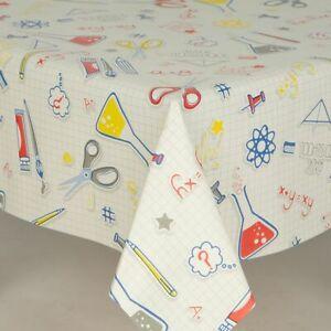 Checked Science Lab Pvc Vinyl Table Cloth Children Play White Blue Retro Fun