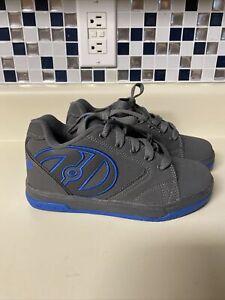 Heelys Propel 2.0 Youth Roller Skate Shoes Size 2 Gray & Blue Boys No Wheels EUC