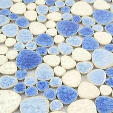 Blue White Pebble Mosaic Tile Ceramic Wall Art Sheet Swimming Pool Floor(11 PCS)