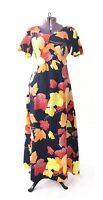 TRUE VINTAGE 1970s 70s dress maxi floral fall leaves orange navy medium Hawaiian