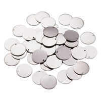 50pcs 304 Stainless Steel Tag Pendants Round Stamping Blank Charms Smooth 23x1mm