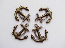 3pz charms ciondoli Ancora colore bronzo 32x27mm,lead,nickel free