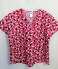 SB Scrubs Size L Large Valentine Scrub Top Red with  Pink & Black Hearts