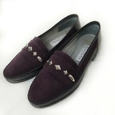 Lorenzo Banfi Shoes Purple Suede Leather Dress Loafers 7.5M ITALY Studded