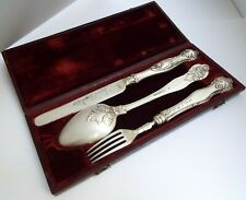 SUPERB ENGLISH ANTIQUE GEORGIAN 1838 STERLING SILVER TRAVEL CUTLERY IN ORIG BOX