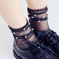 Women Summer Glitter Soft Black Lace Fishnet Mesh Short Ankle Socks Stockings