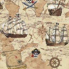 Pirate Map Fabric 100% Cotton Fabric - Sand Children 1/2 mtr Timeless Treasures