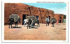 Mid-1900s Burros Laden with Wood, Santa Fe, NM Postcard