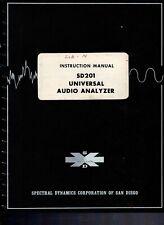 Original Spectral Dynamics Universal Audio Analyzer SD201 Instruction Manual