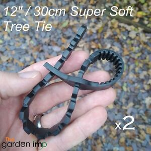"""2 x Tree Ties Super Soft Rubber Adjustable Strap Plant Stake Support 12"""" / 30cm"""
