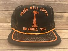 Vintage Young Well Supply San Angelo Texas TX Mens Trucker Hat Snapback Cap
