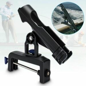Adjustable 360° Boat Fishing Rod Holder Pole Kit For Racks Folding Bracket Black