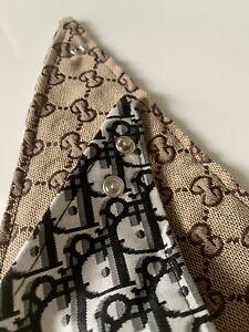 Luxury Fashionable Designer Dog Bandana Triangular Scarf Double Sided L SIZE