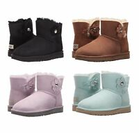 NEW UGG Women's Mini Bailey Button Poppy Winter Boots Shoes Black Chestnut Pink
