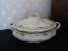 JOHNSON BROS PINK FLORAL COVERED SOUP TUREEN/VEGETABLE BOWL/CASSEROLE- ENGLAND