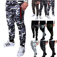 Mens Camoflage Trousers Fit Sports Jogging Sports Sweatpants Pockets Gym Pants