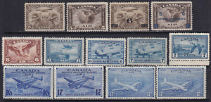 Canada Complete Set of Unused Air Mail Stamps Mostly MH  Very HICV