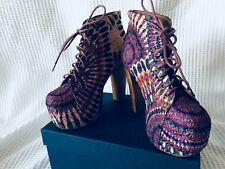 Jeffrey Campbell LITA-FAB in Purple Feather Multicolor Eyelet Boots Size 5