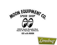 Mooneyes MOON attrezzata Nero Speed Shop script DIE CUT Adesivo Adesivi Decalcomania VW