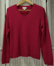 """CHARTER CLUB Cashmere Jumper L 40"""" Bust Pullover Sweater Cable Knit Fucsia Pink"""
