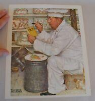 VTG NOS 1972 Norman Rockwell Print Cake Baker Eating Carrots Reading Diet Book