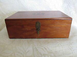 Vintage Wood Trinket Keepsake Box With Inlay
