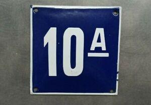 Vintage Enamel Sign Number 10A Blue House Door Street Plate Metal Porcelain Tin