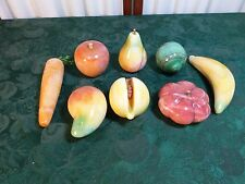 8pc Beautiful Vintage Marble Colorful Fruits & Vegetables