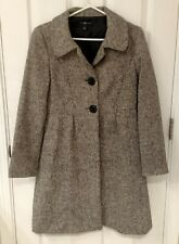 GAP Women's Small Brown Tweed Wool Button Up Peacoat Long Coat Trench Jacket