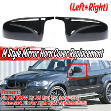 M Style Door Side Mirror Cover Cap Replacement For BMW X5 X6 E70 E71 2007-2013