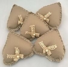 Job Lot - 15 Hessian Padded Hearts - Weddings, Special Occasions, ONLY £9.99