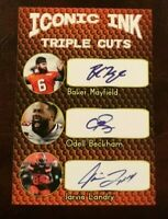 2019 Iconic Ink BAKER MAYFIELD, BECKHAM JR, LANDRY Triple Cuts AUTO FAC Browns