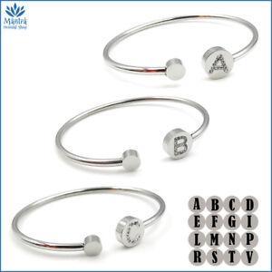 Bracciale da donna braccialetto rigido con lettera iniziale in acciaio zirconi a
