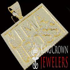 Mens 10K Yellow Gold On Real Silver I M A BOSS Simu Diamond Pendant Charm 1.75''