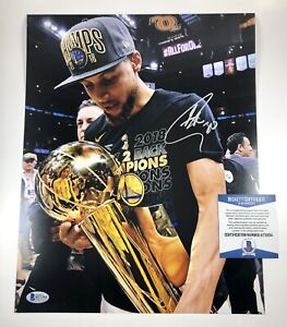 Stephen Steph Curry Warriors Signed Autographed 11x14 Photo Beckett COA