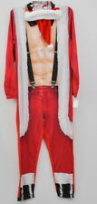 Sexy Santa Adult Union Suit & Hat Men's Muscle Size Small Microfleece Zip Up New