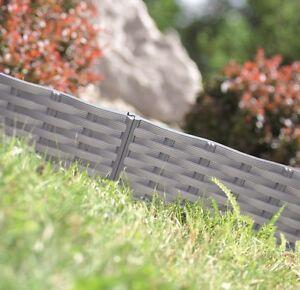 Rasenkante Gartenpalisade Beeteinfassung Beetumrandung 3,9m Rattan-Optik 3xFarbe