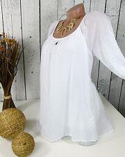 Ibiza - tolle legere Baumwoll TUNIKA doppellagig SHIRT Bluse weiß Gr. 38 40