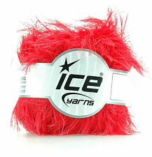 Faux fur yarn by Ice Yarns.  Tomato red. 85% polyamide/ 15% polyester  No. 36776