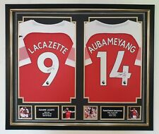 New Lacazette and Aubameyang Signed Shirts Jersey Autographed Framed Display