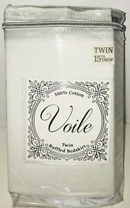 """VOILE Twin Ruffled Bedskirt 39"""" X  75"""" 15in Drop in Gray"""