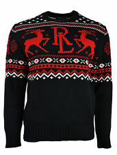[139 98] Polo Ralph Lauren Mens Black Fair Isle Knit Crewneck Sweater Large L