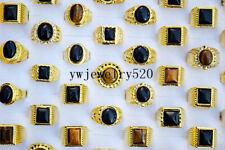 FREE Fashion 10pcs Wholesale lots Tiger eye gemstone Gold Plated Man Rings
