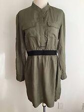 THEORY 1/2 Button Shirtdress Olive w/Black Size 8