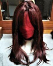 24 INCHES  (60 CM) 100% REMY HUMAN HAIR WIG, DARK AUBURN COLOUR