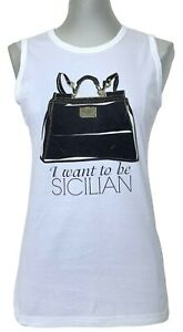 DOLCE & GABBANA 'I WANT TO BE SICILIAN' WHITE COTTON TOP, 38 & 40, $695