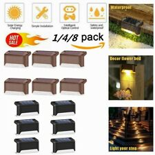1/4/8PCS Solar Powered LED Deck Lights Outdoor Path Garden Stair Step Fence Lamp